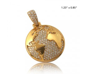 10K DIAMOND HALF GLOBE PENDANT (0.75CT)