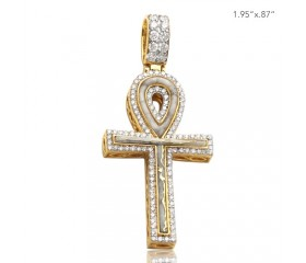 10K DIAMOND AND GOLD QUARTZ ANKH CROSS PENDANT - GOLD QUARTZ WHITE (1.20CT)