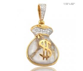 10K DIAMOND AND GOLD QUARTZ MONEY BAG PENDANT - GOLD QUARTZ WHITE (0.35CT)