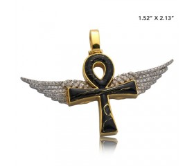 10K DIAMOND AND GOLD QUARTZ ANKH WITH WINGS PENDANT - GOLD QUARTZ BLACK (0.65CT)