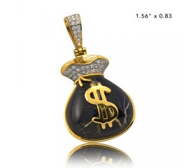 10K DIAMOND AND GOLD QUARTZ MONEY BAG PENDANT - GOLD QUARTZ BLACK (0.35CT)