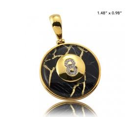 10K DIAMOND AND GOLD QUARTZ 8-BALL PENDANT - GOLD QUARTZ BLACK (0.06CT)