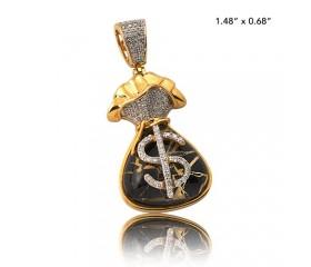 10K DIAMOND AND GOLD QUARTZ MONEY BAG PENDANT - GOLD QUARTZ BLACK (0.30CT)
