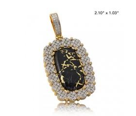 10K DIAMOND DOG TAG PENDANT - CLUSTER BORDER - BEZEL PRONGS - GOLD QUARTZ BLACK (2.50CT)