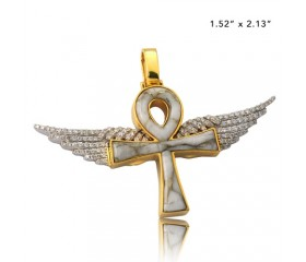 10K DIAMOND AND GOLD QUARTZ ANKH WITH WINGS PENDANT - GOLD QUARTZ WHITE (0.65CT)