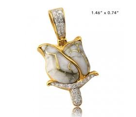 10K DIAMOND AND GOLD QUARTZ ROSE PENDANT - GOLD QUARTZ WHITE (0.50CT)