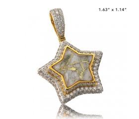10K DIAMOND AND GOLD QUARTZ STAR PENDANT - GOLD QUARTZ WHITE (3.60CT)
