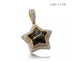 10K DIAMOND AND GOLD QUARTZ STAR PENDANT - GOLD QUARTZ BLACK (3.60CT)