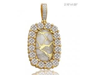 10K DIAMOND DOG TAG PENDANT - CLUSTER BORDER - GOLD QUARTZ WHITE (2.50CT)