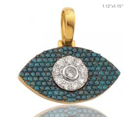 10K BLUE AND WHITE DIAMOND EVIL EYE PENDANT - WHITE DIAMOND MIDDLE (2.25CT)