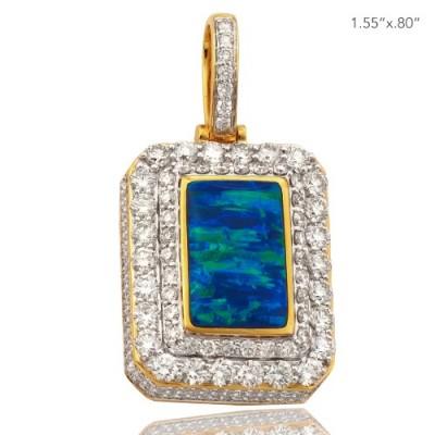 10K DIAMOND 3-D DOGTAG PENDANT WITH GREEN GILSON OPAL (4.00CT)