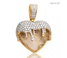 10K DIAMOND AND GOLD QUARTZ WHITE DRIPPING HEART PENDANT (2.75CT)