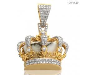 10K DIAMOND AND GOLD QUARTZ CROWN PENDANT - GOLD QUARTZ WHITE (2.90CT)