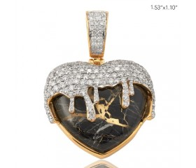10K DIAMOND AND GOLD QUARTZ BLACK DRIPPING HEART PENDANT (2.75CT)