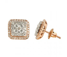 14K Square Diamond Cluster Earrings (1.00ct)