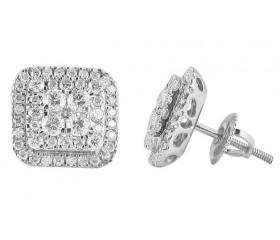 14K Square Diamond Cluster Luna Earrings (1.65ct - 2.00ct)