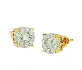 14K Diamond Cluster Earrings (0.30ct - 1.25ct)