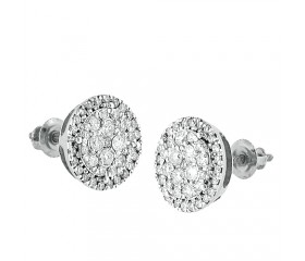 14K Round Diamond Cluster Earrings (0.50ct - 1.50ct)