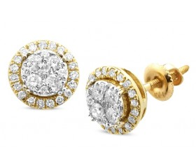 14K Diamond Round Shaped Cluster Earring Studs (0.50ct)