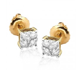 14K Diamond Square Cluster Earring Studs (0.33ct)