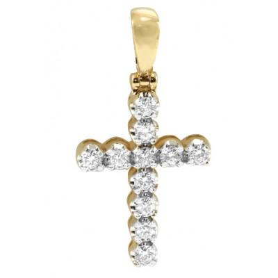 14K 11-Stone Diamond Cross Pendant (1.75ct)