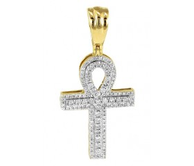 14K Diamond Prong Set Ankh Cross 3-D Pendant (0.50ct - 1.50ct)