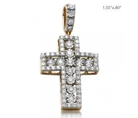 10K ILLUSION SET DIAMOND CROSS WITH PRONG SET BORDER (1.15CT)