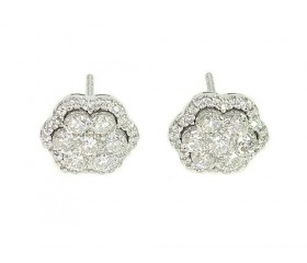 14k Diamond Flower Stud Earrings 1.48ct