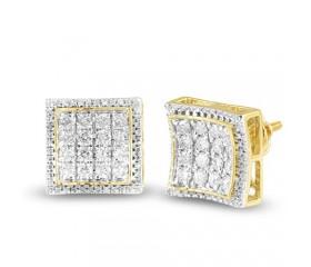 10K Diamond Square Shape Concave 3-D Earrings