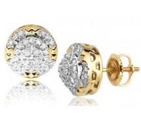 10K Diamond Round Cluster 3-D Earrings (0.40ct)