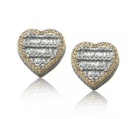 14K HEART SHAPE BAGUETTE EARRINGS (1.00CT)