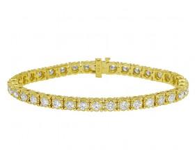 "Yellow Gold Tennis 25 Pointer Diamond Bracelet 8"" 8.85 Ct"