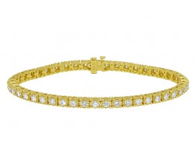"Yellow Gold Tennis 12 Pointer Diamond Bracelet 8"" 5.4 Ct"