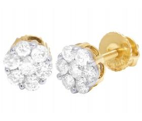 14K Yellow/ White Gold Flower Cluster Diamond Earrings .50CT