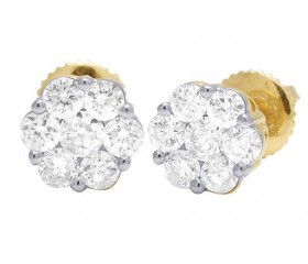 14K Yellow/White Gold Round Flower Cluster Diamond Stud Earrings 0.33CT 5MM