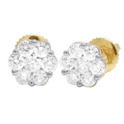 14K Yellow/White Gold Round Flower Cluster Diamond Stud Earrings 0.33CT 5MM