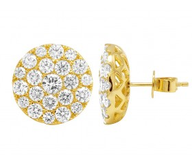 Mens 14K Yellow Gold Pave Cluster Real Diamond Stud Earrings 3.5CT 15mm
