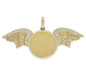 Yellow Gold Angel Wing Memory Frame Pendant 5.75 CT