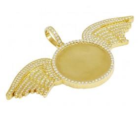 Yellow Gold Diamond Photo Engrave Wing Memory Pendant 5.75 CT