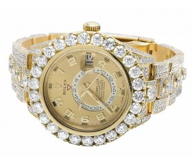18k Rolex Sky Dweller 326938 Yellow Gold Diamond Watch 39.7 Ct