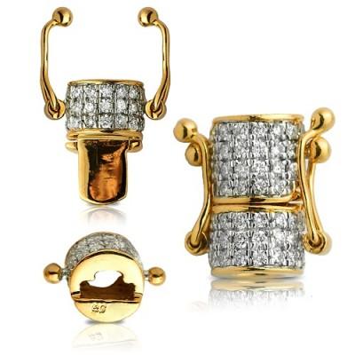 0.50CTW Diamond Cylinder Shaped Chain Lock - 6MM