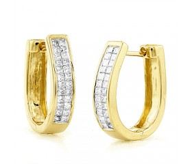 14K Diamond Hoop Earrings Princess Cut (0.65ct)