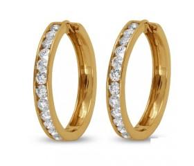 14K Channel Set Round Diamonds Hoop Earrings (2.15ct)