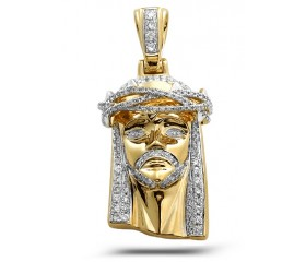 10K Diamond Jesus Pendant with Solid Back (0.75ct)