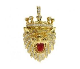 14k Lion Diamond Pendant 1.19ct