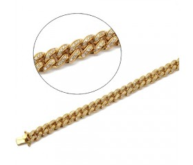 "10K Diamond Miami Cuban Bracelet - 8.5"" - 9mm (3.50ct)"