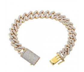 10K MENS DIAMOND BRACELET- SQ LINK MIAMI CUBAN (8.38CT)