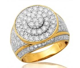 10K Diamond Round Cluster Men's Ring - 3 Tiered (3.00ct)