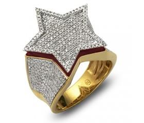 10K DIAMOND FLAT STAR RING RED ENAMEL BORDER (1.00CT)