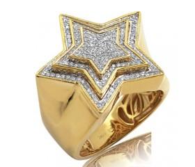 10K DIAMOND 3-TIERED STAR RING (0.50CT)